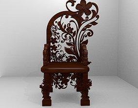 Romanesque Ornamental Chairwood 3D asset