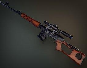 3D asset Lowpoly PBR Dragunov Sniper Rifle SVD