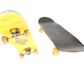 Yellow skateboard 21 3D asset