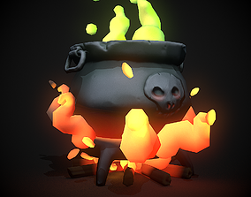3D model stylized magic pot