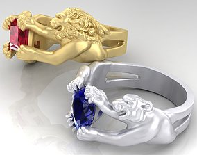 3D printable model Rings with Lion and tigers