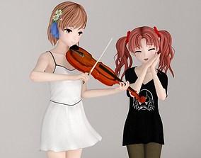 Misaka Mikoto and Kuroko Shirai pose 3D model