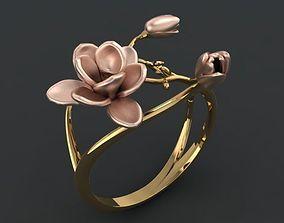 3D printable model spring flower ring
