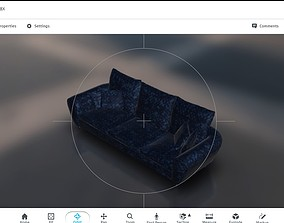 3D asset low poly ar vr game ready couch