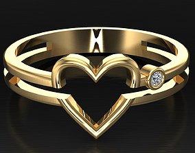 3D printable model heart ring gift