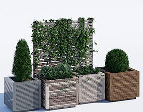 Square modern planters 3D model