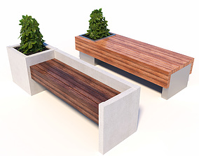 3D model Street benches with plants park