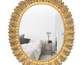 Metal mirror with gold leaf decor 56962240 3D model