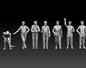 3D print model railroad staff people