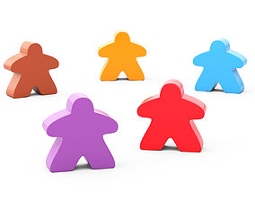 3D 5 HD figures for board game of different colors