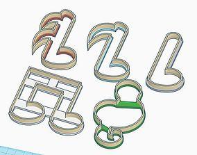 Musical Notes Cookie Cutter Set 3D print model