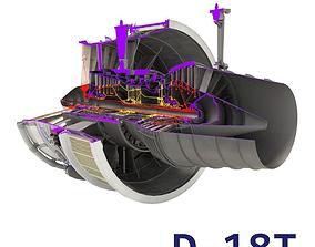 D-18T turbofan engine cutaway 3D model