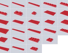 Lego Brick Collection - Flat Bricks 3D asset