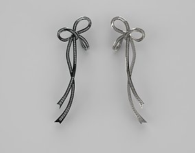 Bow earring with diamonds 3D print model
