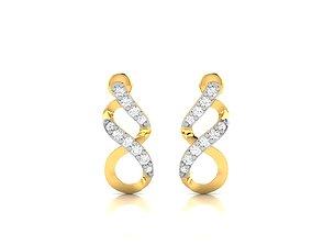 Women earrings 3dm render detail hoophuggie studs