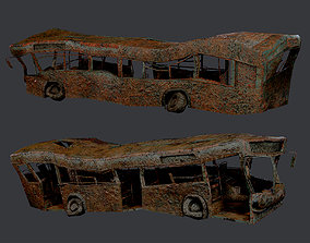 3D model Apocalyptic Damaged Destroyed Vehicle Bus 2