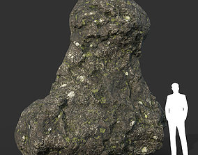 3D asset Low poly Damaged Lichen Rock 04 190907