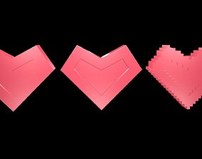 Low poly hearts 3 3D model