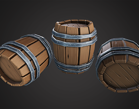 3D model realtime Stylized Wooden Barrel