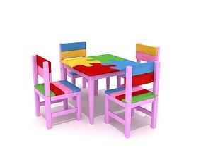 Decorative Kid Table Wood Painted Puzzle Form 3D asset