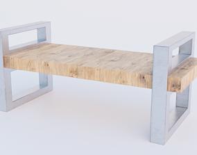 Modern Park Bench 2K PBR Low poly 3D model