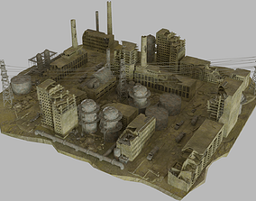 3D model Ruined Factory And Suburbs