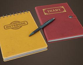 3D asset PBR Notepad Diary Pen