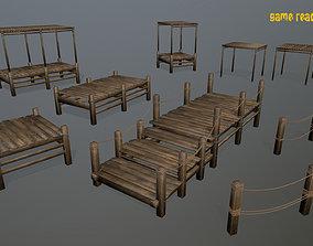 Wooden Pier Set 3D asset
