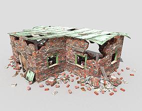 3D asset low poly destroyed building 3