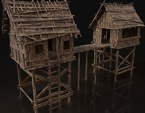 3D asset Gate Wooden Medieval Watchtower