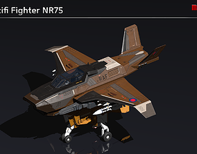 Scifi Fighter NR75 3D model game-ready
