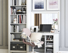 Ikea BRUSALI dressing table with LANGFJALL chair 3D