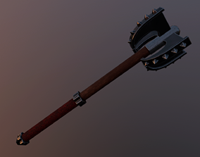 weapon 3D asset game-ready Medieval mace