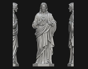 Jesus with Sacred Heart Bas-Relief 3D printable model