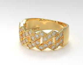 3D print model Cuban diamond ring new design