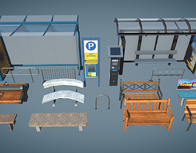 Bus Stop and Benches 3D asset