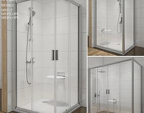 3D model design Corner shower cabins Ravak Rapier