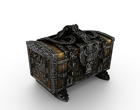 3D asset VR / AR ready Old Metal Chest