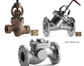 3D model Pipeline industrial valves set