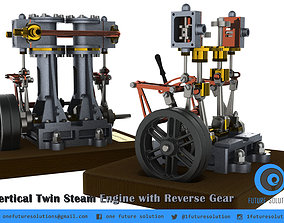 3D Vertical Twin Steam Engine with Reverse Gear