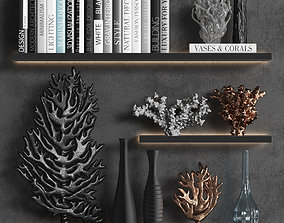 Decorative set of organic coral with books and vases 3D
