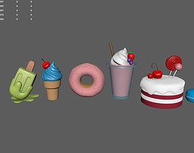 3D Sweets Set - Cake Icecream Donut Macaron Smoothie