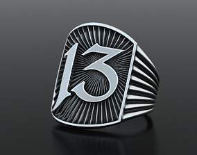 Stylish ring thirteen 13 of gold and silver 3D print model
