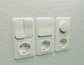 Realistic Wall Light Switch and Dimmer with Socket 3D