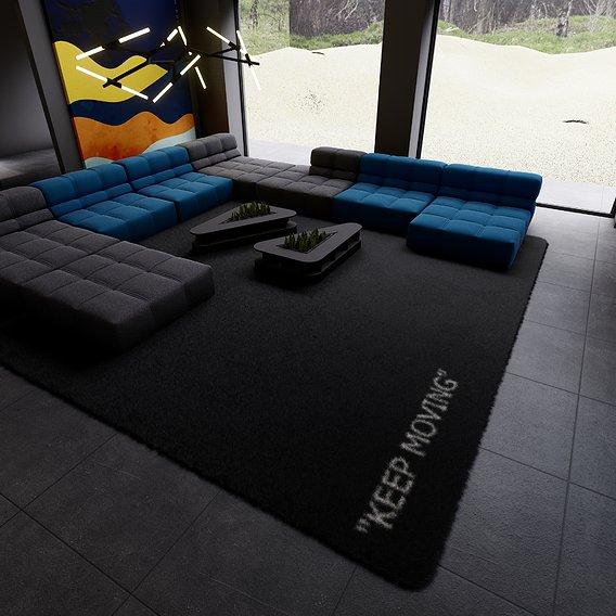 Living room dark in the blue