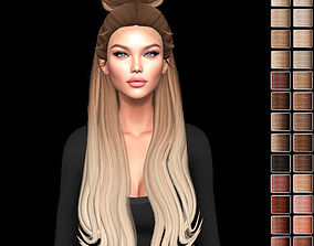 Female hair style rigged rigged realtime 1