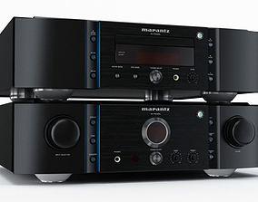 Black audio stereo amplifier 34 AM77 3D model
