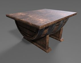 wooden barrel table 3D asset