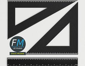Drafting Ruler and Squares set 3D model
