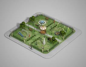 3D asset Urban Park with children games